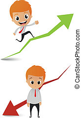 businessman running on the graph