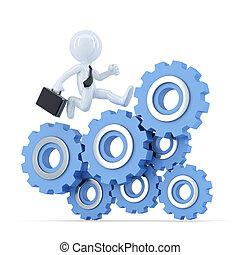 Businessman running on top of the gear mechanism. Business...