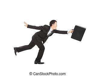 Businessman running on white background