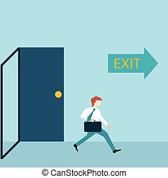 Businessman running out of a door with exit sign.