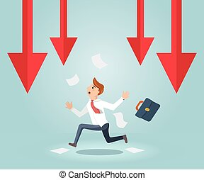 Businessman running out of business arrow falling