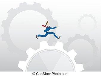 * Businessman running  over machine gear wheel.