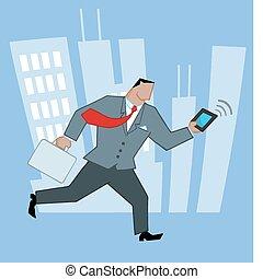 Businessman Running Through A City