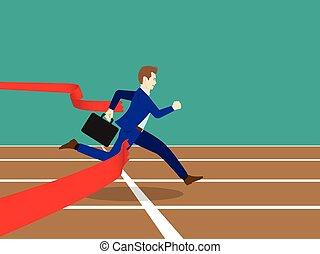 Businessman Running Through Finish Line