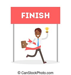 Businessman running to finish.