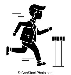 businessman running to finish  icon, vector illustration, sign on isolated background