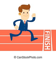 Businessman Running To Finish In Track