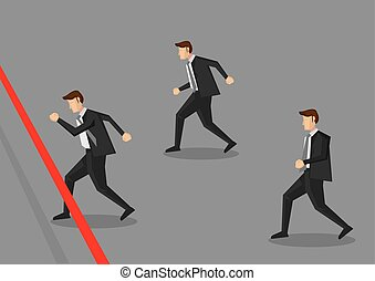 Businessman Running to Finish Line Vector Illustration