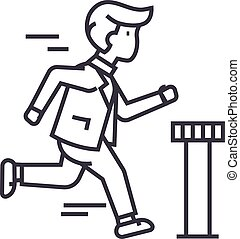 businessman running to finish vector line icon, sign, illustration on background, editable strokes