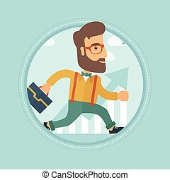 Businessman running to success vector illustration