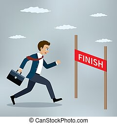 Businessman running to the finish line.