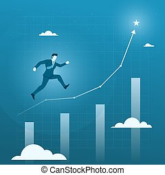 Businessman Running to the Target Goal, Business Growth Concept with Chart.