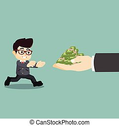 businessman running towards money
