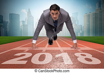 Businessman running towards new year 2018 - Businessman...