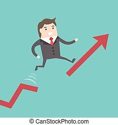 Businessman running up chart