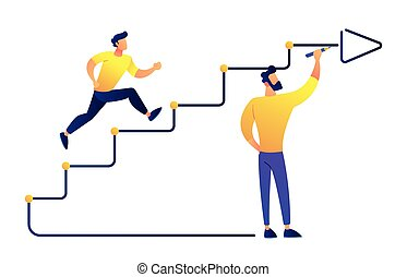 Businessman running up drawn stairs with arrow vector illustration.