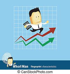 Businessman running up rising chart