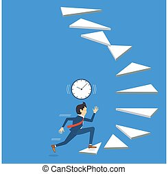 Businessman running up staircase to success with caution.Running with the time step by step to goal,vector illustration
