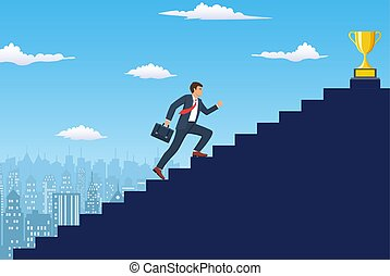 Businessman running up staircase to the top.