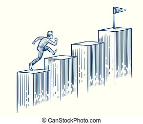 Businessman running up stairs. Man walking to target. Success career and business opportunity hand drawn vector concept