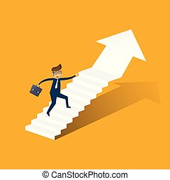 Businessman running up stairway to the top. Business concept growth and the path to success. illustrator vector.