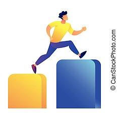 Businessman running up the columns graph vector illustration.