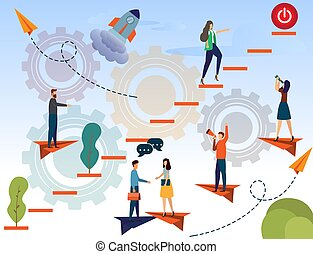 businessman running up the stairs and push start button, planning career, concept of career growth, teamwork - Vector. start up new business concept illustration.