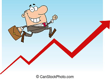 Businessman Running Upwards - Businessman Running Over A...