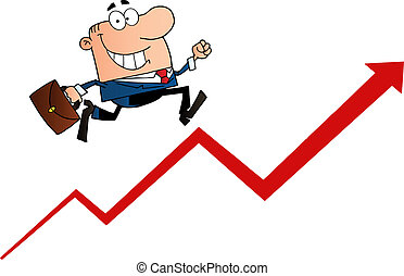 Businessman Running Upwards On A Statistics Arrow