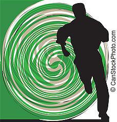 Businessman running. Vector illustration