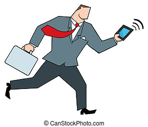 Businessman Running With A Tablet