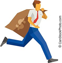 Businessman running with big money bag