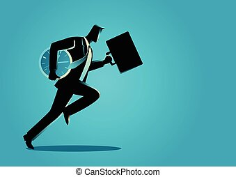 Businessman running with briefcase and clock - Business...
