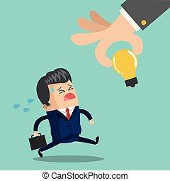 Businessman running with briefcase cartoon