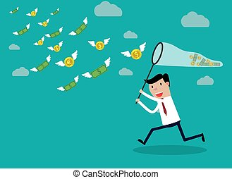 Businessman running with butterfly money