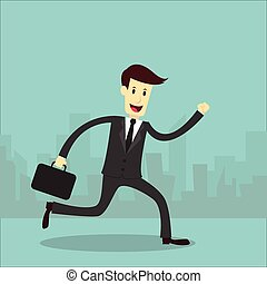 Businessman running with city background