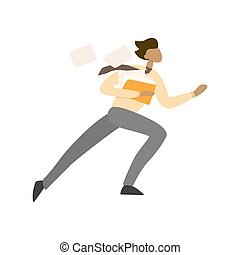 Businessman running with document. Idea of deadline