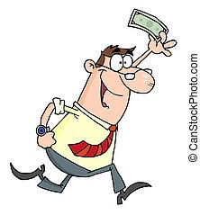 Businessman Running With Dollar - Happy Caucasian...