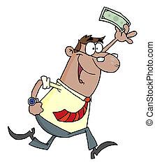 Businessman Running With Dollar