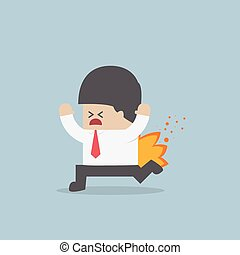 Businessman running with his pants on fire, VECTOR, EPS10