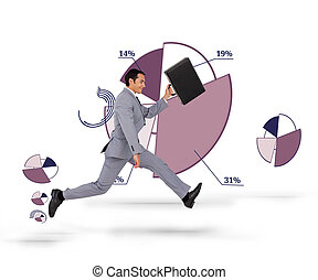 Businessman running with his suitca
