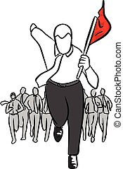 businessman running with his team holding red flag vector illustration sketch hand drawn with black lines isolated on white background