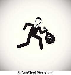 Businessman running with money bag on white background