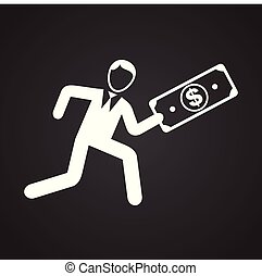 Businessman running with money on black background