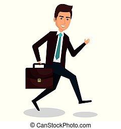 businessman running with portfolio