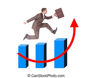 Businessman running with suitcase on graph