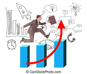 Businessman running with suitcase on growth graph