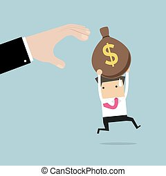 Businessman runs away boss hands to steal money bags.