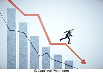 Businessman runs down on stock crash recession chart with red arrow.