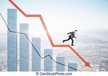 Businessman runs down on stock crash recession chart